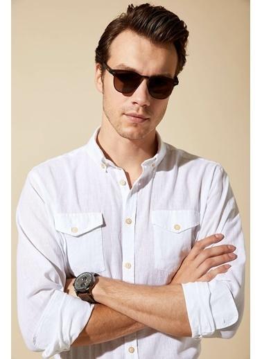 DeFacto Keten Çift Cepli Regular Fit Gömlek Beyaz